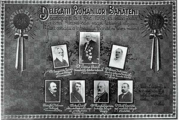 Delegația românilor bănățeni, participanți la Marea Adunare Națională de la 1 Decembrie 1918. În rândul de sus, primul din dreapta este Avram Imbroane.